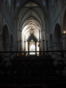 Here is an interesting view of the axiality of a Gothic Cathedral: All the way from the High Altar to the window over the entrance....or the other way around.