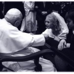 Me with my two favorite men, my husband Josh and JP2 in 2004. I was asking Papa to bless my newly conceived child in thsi picture. I am fairly certain he prayed I would understand, accept, and share the beauty of the gift I was about to receive; motherhood.