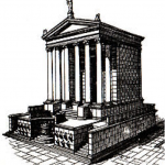 The Temple of Divus Julius, that is, of Julius Ceaser under his divinized title.