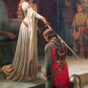 "Edmund Leighton's 1901 painting ""The Accolade"""
