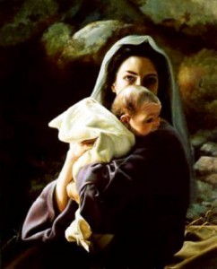 Mary and alert Baby Jesus