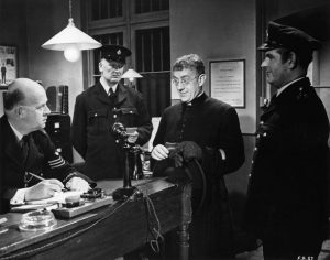 "Still from the movie ""Father Brown the Detective,"" based on the stories by G.K. Chesterton and starring Alec Guinness as the titular character."