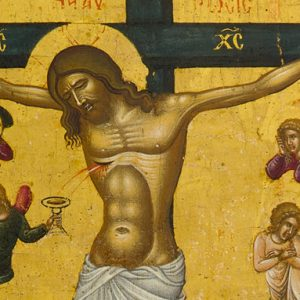 Image of blood issuing from side of the crucified Lord being caught in a chalice