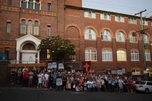 Hundreds form a Human Prayer Chain against Café Plans for Villa Maria Chapel